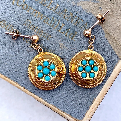 Etruscan Style Vintage Turquoise Earrings