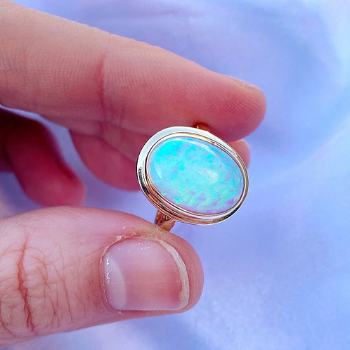 Magical Vintage Large Opal Solitaire Ring