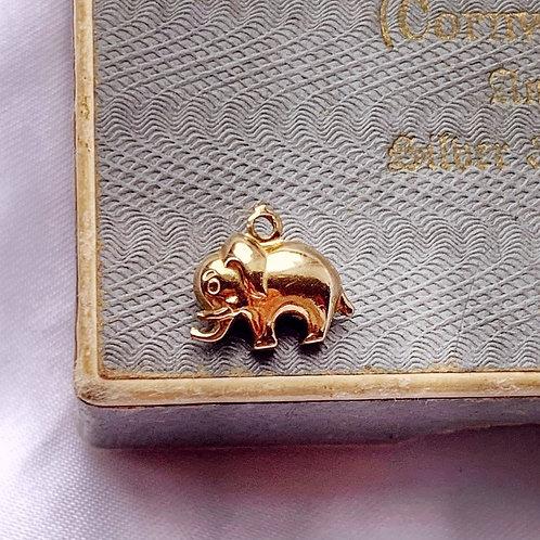 Vintage 9ct Gold Teeny Elephant Charm