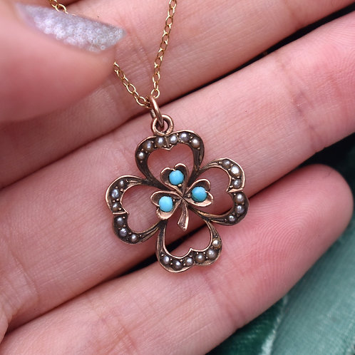 Antique Edwardian 9ct Gold Turquoise Pearl Four Leaf Clover