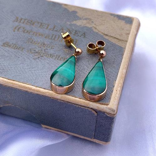 Vintage 9ct Gold Malachite Drop Earrings