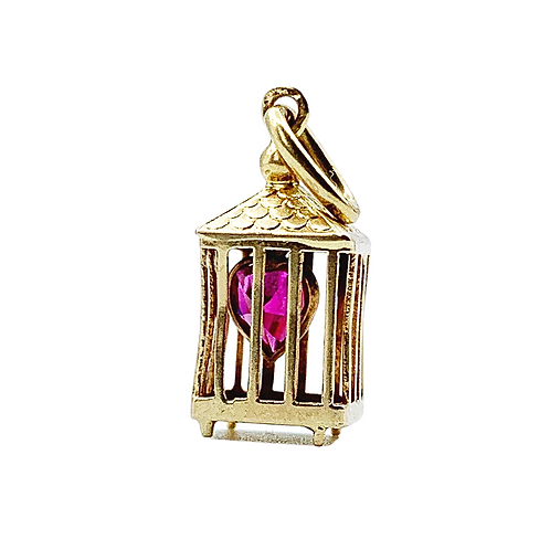 Antique 18ct Gold French Caged Heart Charm