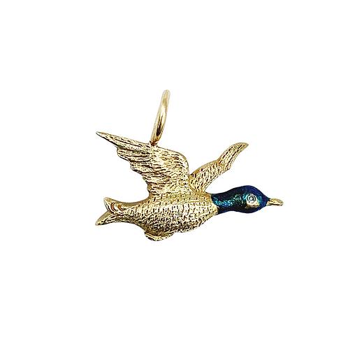 Antique 9ct Gold Diamond Enamel Victorian Bird Charm