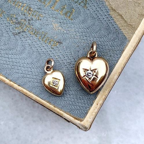Two Enchanting Diamond Set Gold Heart Charms