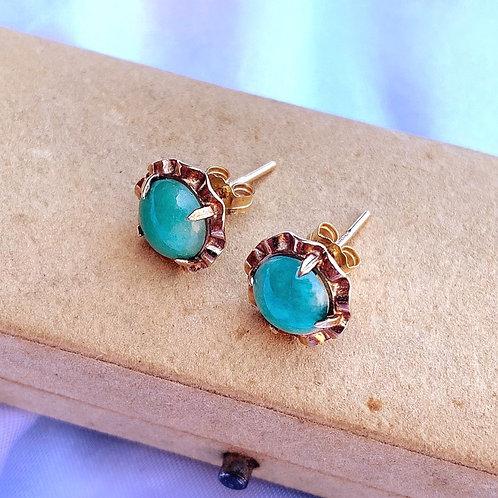 Spring Aventurine 9ct Gold Floral Stud Earrings