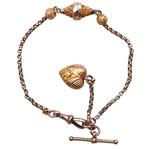 Antique Victorian 9ct Gold Albertina Bracelet