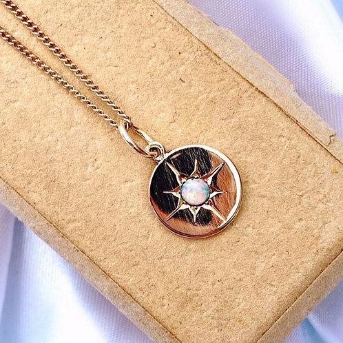 Antique 14ct Gold Engraved Opal Starburst Charm