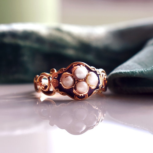 Antique 15ct Gold Enamel Pearl Ring