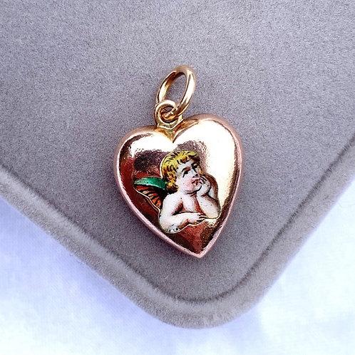 Antique 9ct Gold Enamel Cherub Heart Charm