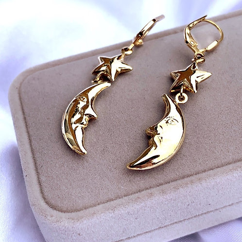 Vintage 9ct Gold Moon and Star Drop Earrings