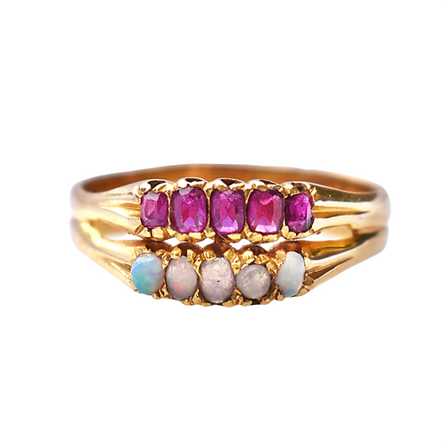18ct Gold Victorian Double Band Opal & Ruby 'Stacker' ring