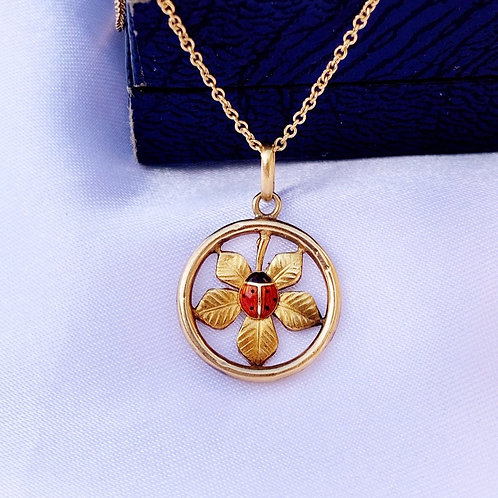 Antique French 18ct Gold Enamel Ladybird Charm