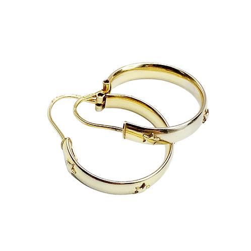Vintage 9ct Gold Star Embossed Hoops