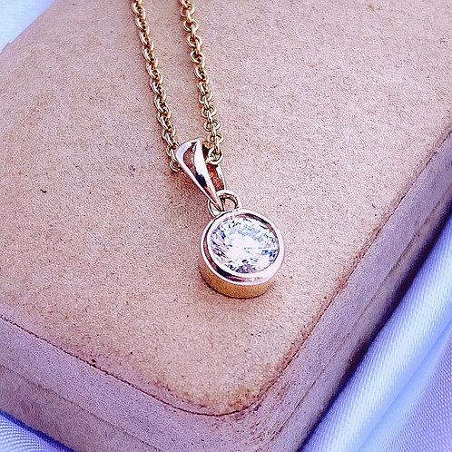 Minimal Bezel Set 14ct Gold Diamond Glass Charm