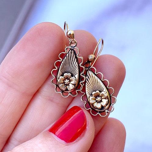 Antique Edwardian 9ct Gold Floral Drop Earrings
