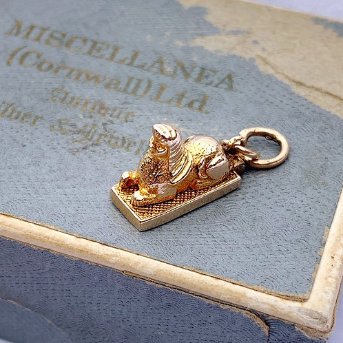 Rare Novelty 9ct Gold Opening Sphinx Mummy Charm