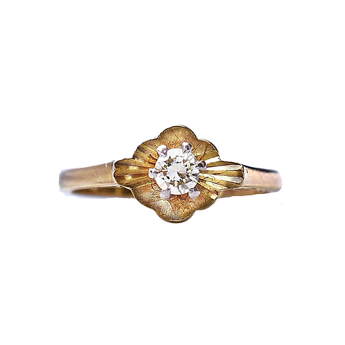 Floral 18ct Gold Vintage Diamond Fairy Ring