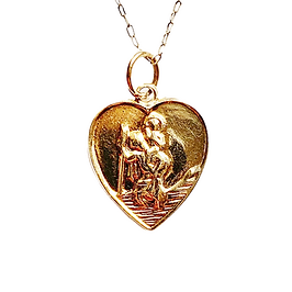Gold vintage heart shaped st christopher charm