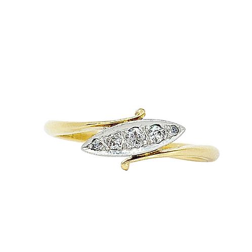 Art Deco 18ct Gold & Platinum Boat Of Diamonds Ring
