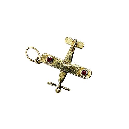Vintage Gemset Ruby 9ct Gold Plane Charm