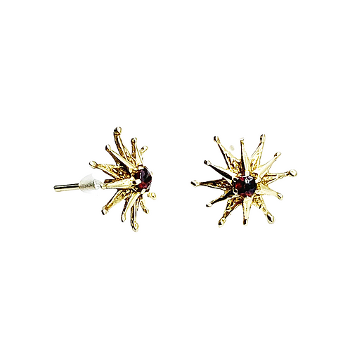9ct Gold Garnet Starburst Studs