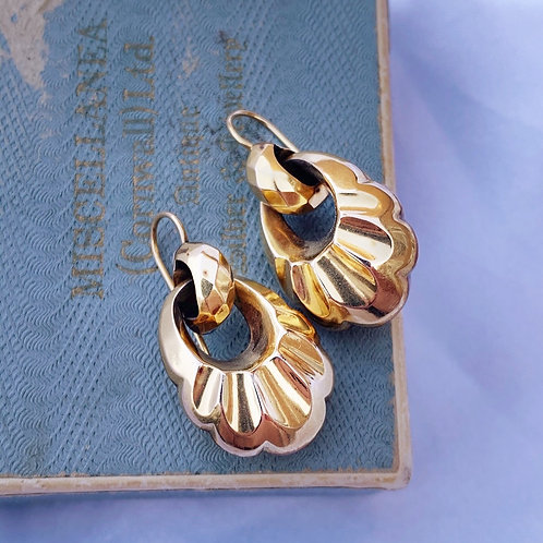 Antique Puffed 9ct Gold Drop Earrings