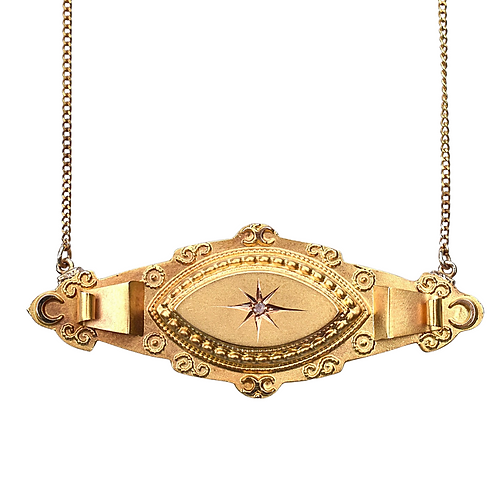 Victorian Etruscan Revival Moon & Stars Diamond Necklace