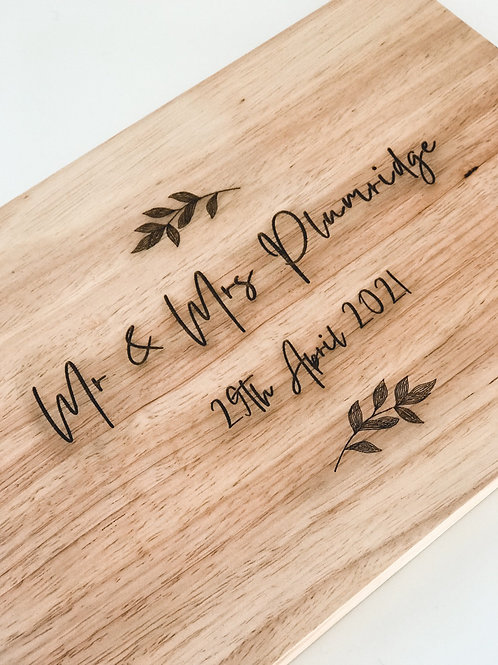 Custom Text & Leaves Wooden Chopping Board