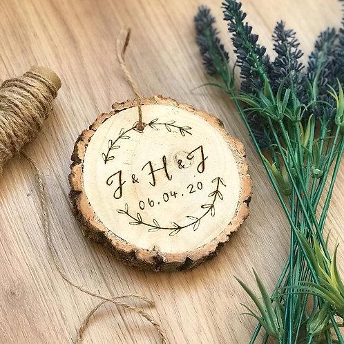 Initial & Date Wood Slice (13cm)