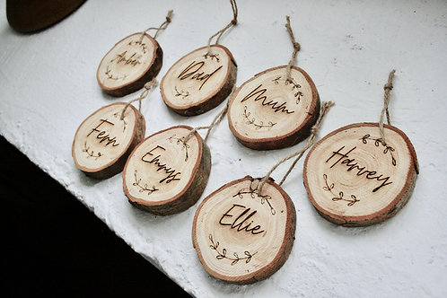 Personalised Small Wooden Christmas Tree Decoration (7-9cm)