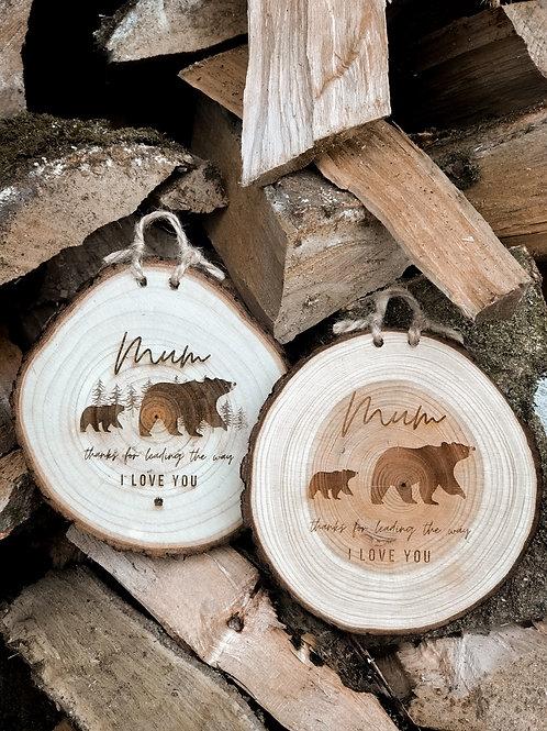 Mum Bear Wood Slice (M, L & XL)