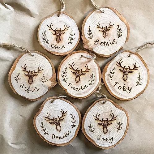 Hand Burnt Name & Reindeer Wood Slice Christmas Tree Decoration
