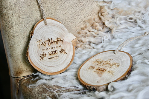 First Christmas - New Home, Engaged, etc Wood Slice (S, M, L)
