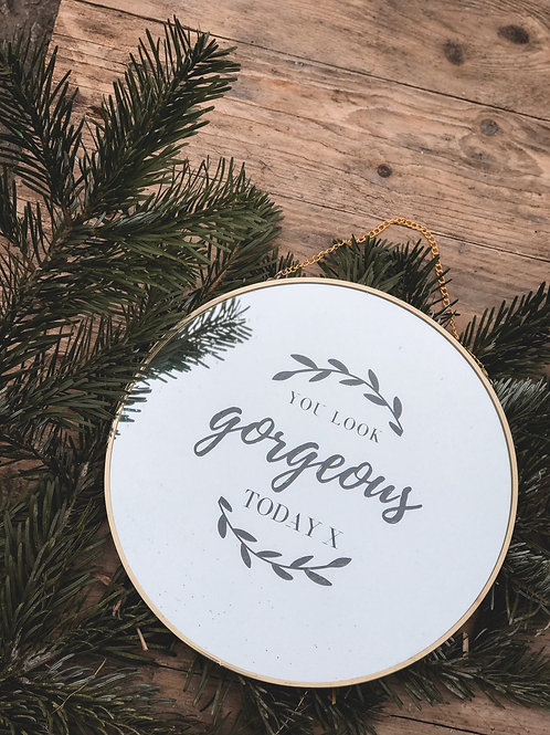 """Gold Rim Round Mirror (20cm) (Personalised or """"you look gorgeous"""")"""