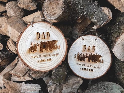 Medium Dad Bear Wood Slice Fathers Day (14cm)