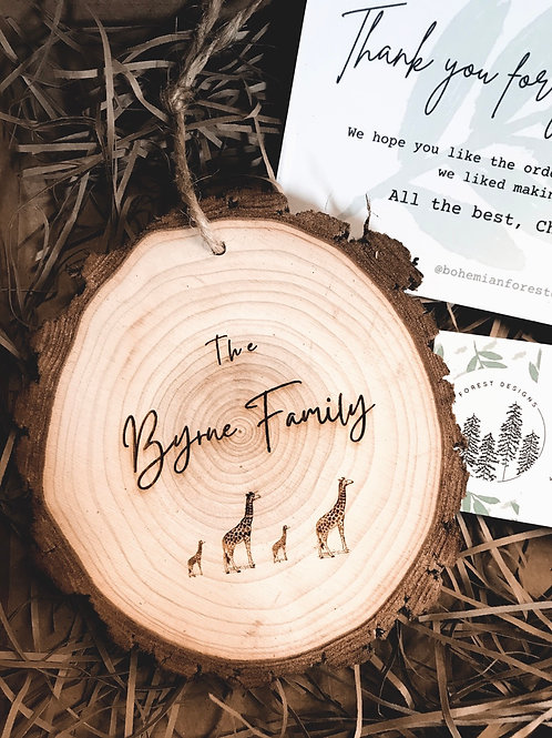 Medium Giraffe Family or Kids Room Wood Slice (13cm)