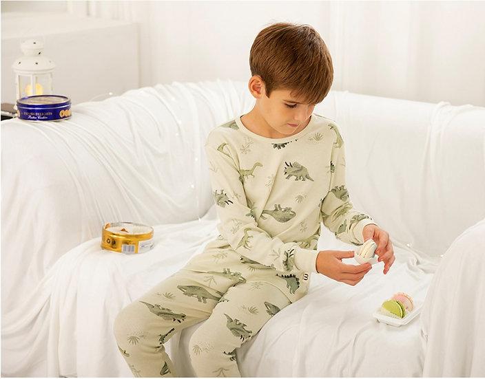 Трикотажный домашний костюм- пижама с динозаврами