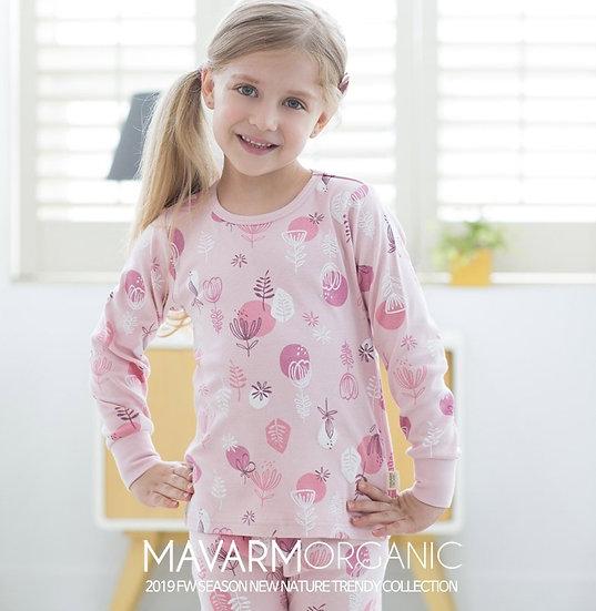 Трикотажный домашний костюм- пижама с цветами