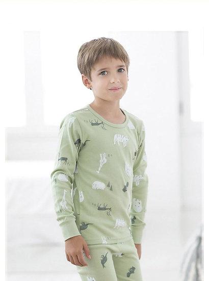 Трикотажный домашний костюм- пижама с лесными зверями