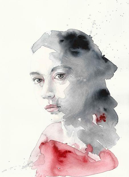 Frau in rot, Portrait, Aquarell, Kunst von Damaris Rohner