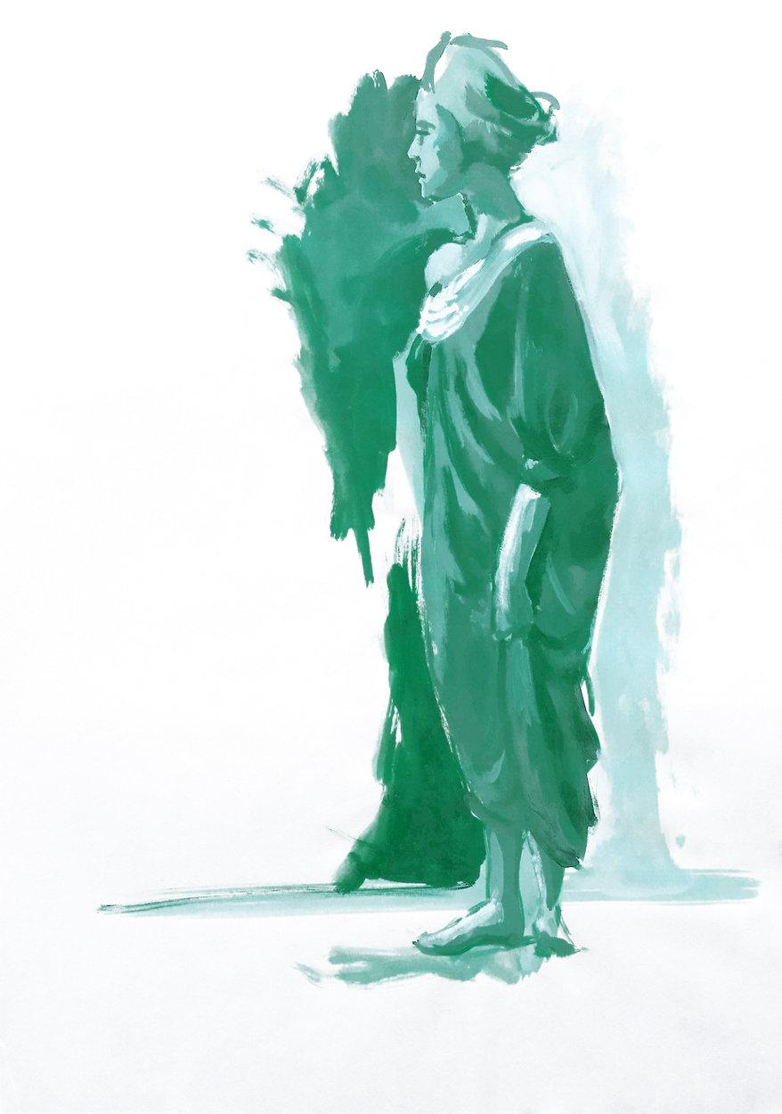 Blick zurück, Acryl auf Papier, 2005, Kunst von Damaris Rohner