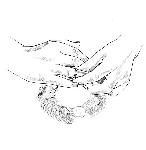 Ringgrösse bestimmen, beim Goldschmied, Eheringe, Schmuckanfertigung,