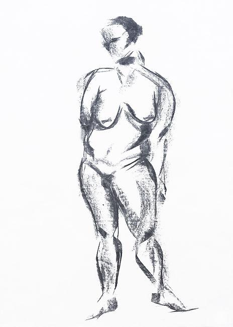 Akt, Kohle auf Papier, 2005, Kunst von Damaris Rohner