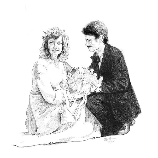 Zeichnung, Hochzeitsfoto, Portrait, schwarz weiss, Lineart, Kunst von Damaris Rohner