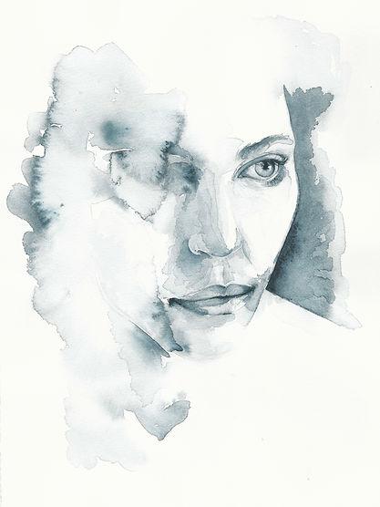 Portrait, Aquarell, Frau, Kunst von Damaris Rohner