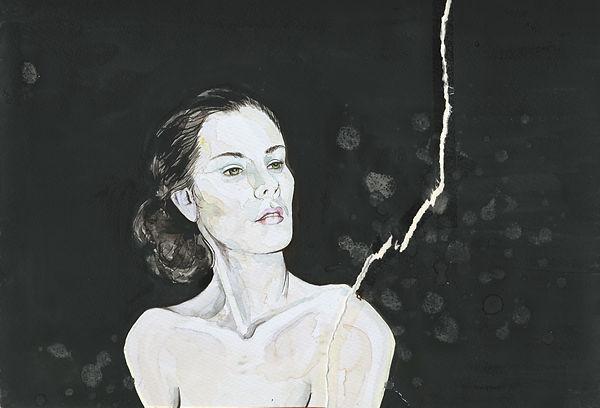 Salz, Portrait, Aquarell, Frau, Kunst von Damaris Rohner