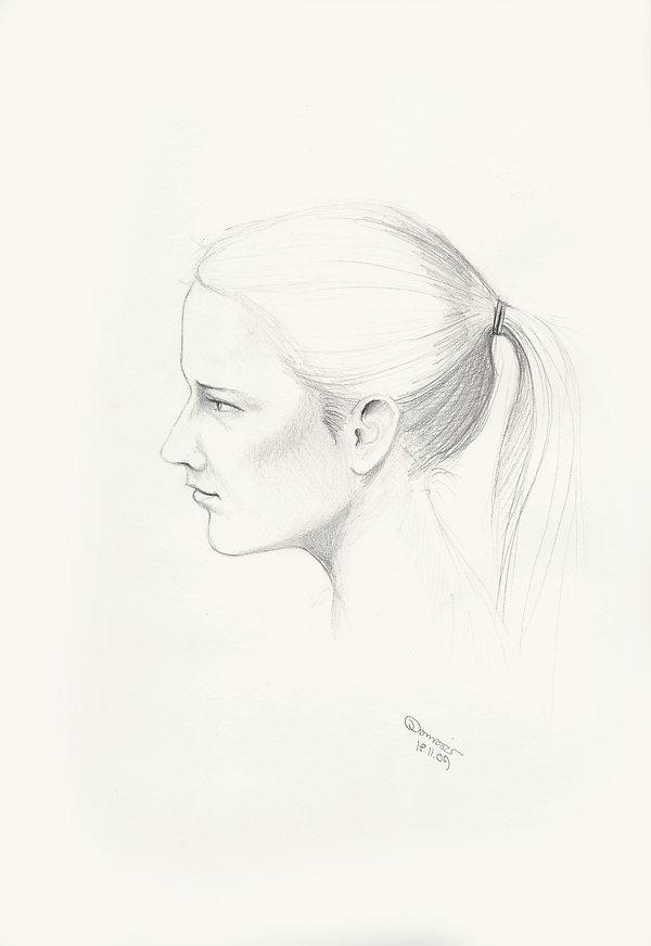 Portrait, Woman, Bleistift Zeichnung, Kunst von Damaris Rohner