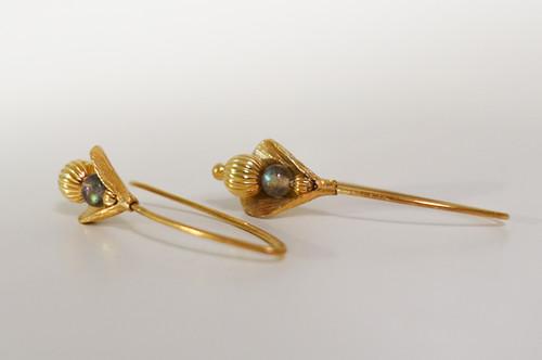 Ohrringe in Silber 925 vergoldet mit Labradorit