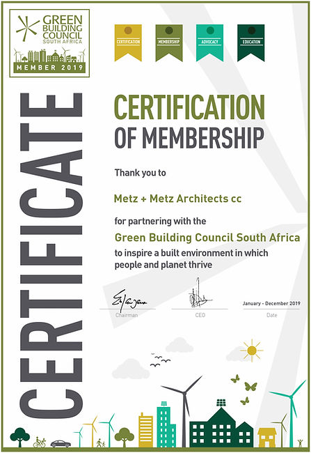 Metz + Metz Architects cc Membership Cer