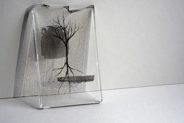 Layered resin and ink drawing